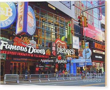 Times Square Razzle Dazzle Wood Print