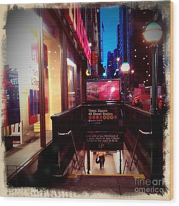 Times Square Station Wood Print by James Aiken