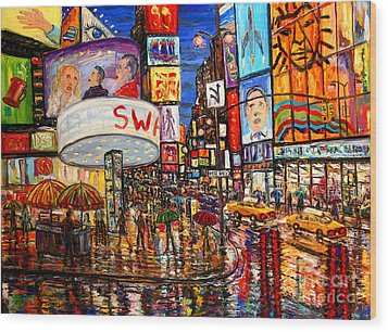 Times Square With Lion King Wood Print by Arthur Robins