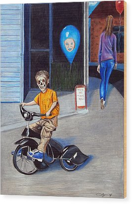 Timmy's New Tricycle Wood Print by Chris Benice