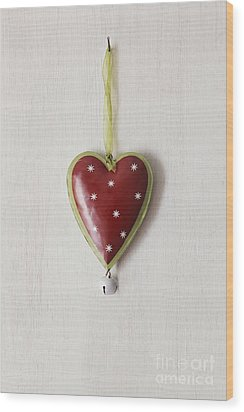 Wood Print featuring the photograph Tin Heart Hanging On Wood by Sandra Cunningham