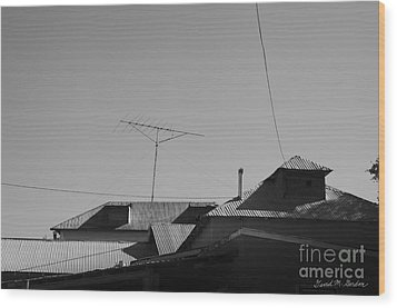 Tin Rooftops Chimayo New Mexico Wood Print by David Gordon