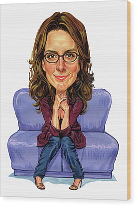 Tina Fey Wood Print by Art