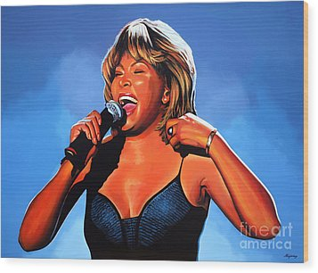 Tina Turner Queen Of Rock Wood Print by Paul Meijering