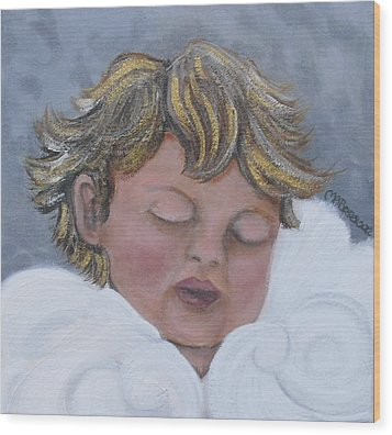 Tiny Angel Wood Print by Melissa Torres