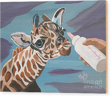 Tiny Baby Giraffe With Bottle Wood Print by Phyllis Kaltenbach