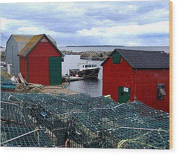 Tiny Little Harbour Wood Print by Janet Ashworth