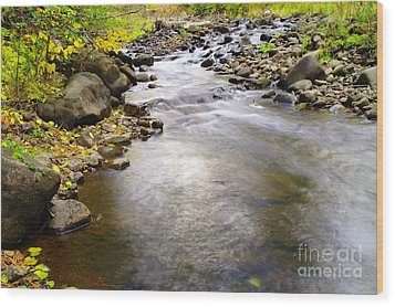 Tiny Rapids At The Bend  Wood Print by Jeff Swan