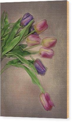 Tip Toe Thru The Tulips Wood Print