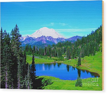 Tipsoo Lake Mount Rainier Wood Print by Ann Johndro-Collins