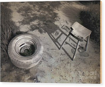 Tire And Stool Wood Print by Gregory Dyer