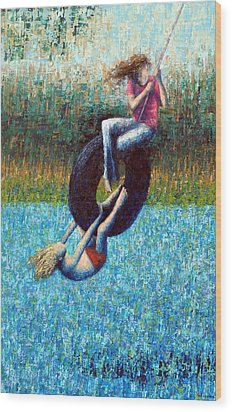 Tire Swing Wood Print by Ned Shuchter