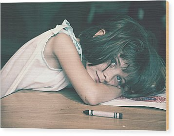 Tired Girl By Jan Marvin Wood Print