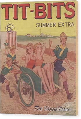 Tit-bits 1930s Uk Boy Scouts Holidays Wood Print by The Advertising Archives