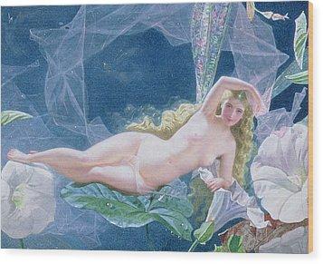 Titania Lying On A Leaf  Wood Print by John Simmons