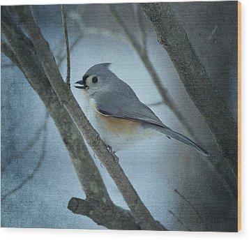 Titmouse Wood Print by Sandy Keeton