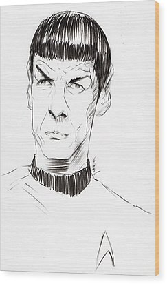 Wood Print featuring the drawing To Boldly Go...... by Tu-Kwon Thomas