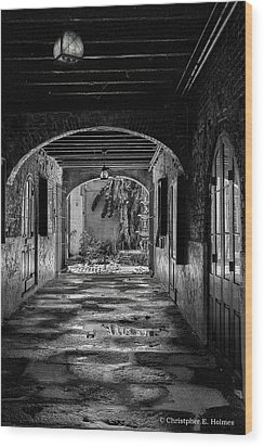 To The Courtyard - Bw Wood Print by Christopher Holmes