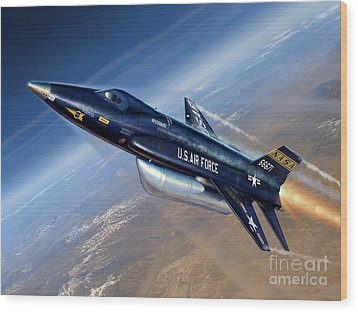 To The Edge Of Space - The X-15 Wood Print by Stu Shepherd