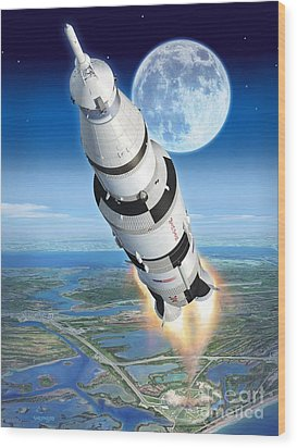 To The Moon Apollo 11 Wood Print by Stu Shepherd