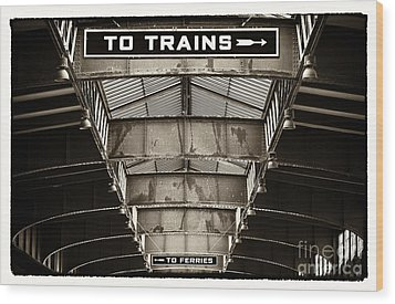 To Trains Wood Print by John Rizzuto