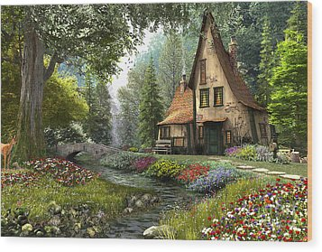 Toadstool Cottage Wood Print by Dominic Davison