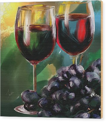 Toast Of Wine Wood Print
