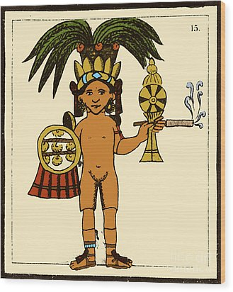 Tobacco In Aztec Ritual, Florentine Wood Print by Science Source