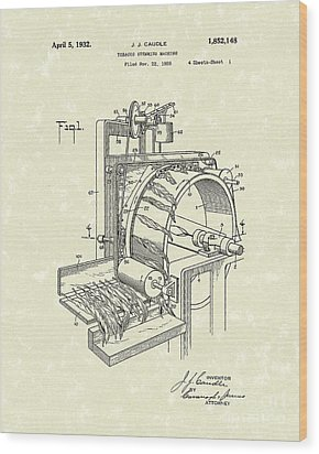 Tobacco Machine 1932 Patent Art Wood Print by Prior Art Design