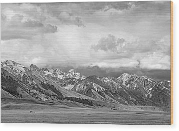 Tobacco Root Mountains Montana Black And White Wood Print by Jennie Marie Schell