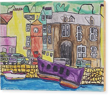 Wood Print featuring the painting Tobermory by Artists With Autism Inc