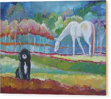 Toby The Poodle Wood Print