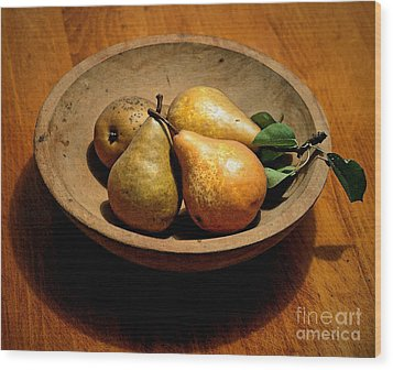 Today's Pears Wood Print by Gwyn Newcombe