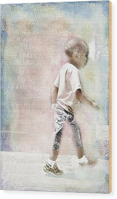 Wood Print featuring the digital art Toddler On The Prowl by Davina Washington