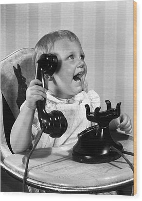 Toddler With Telephone Wood Print by Underwood Archives