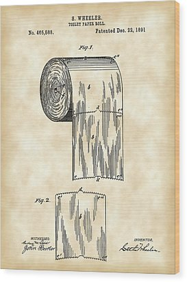 Toilet Paper Roll Patent 1891 - Vintage Wood Print