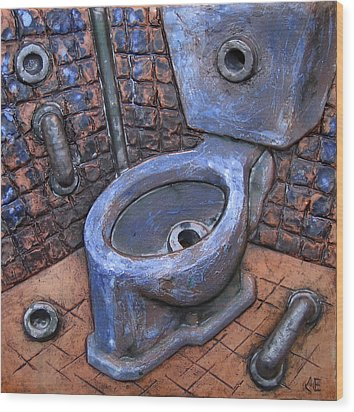 Toilet Stories #9 Wood Print by Carlos Enrique Prado