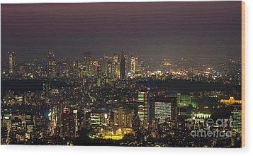 Tokyo City Skyline Wood Print by Fototrav Print