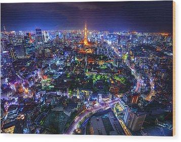 Tokyo Dreamscape Wood Print