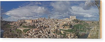 Toledo Old Town Panorama Wood Print by Rudi Prott