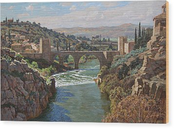 Toledo. San-martin Bridge Wood Print by Korobkin Anatoly