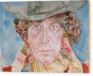 Tom Baker Doctor Who Watercolor Portrait Wood Print by Fabrizio Cassetta