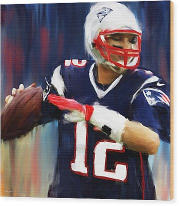Tom Brady Wood Print by Lourry Legarde