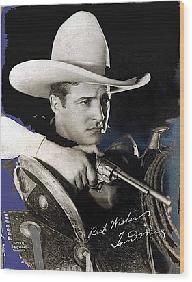 Tom Mix Portrait Melbourne Spurr Hollywood California C.1925-2013 Wood Print by David Lee Guss