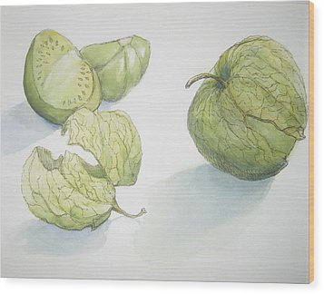 Tomatillos Wood Print by Maria Hunt
