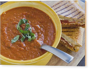 Tomato And Basil Soup With Grilled Cheese Panini Wood Print