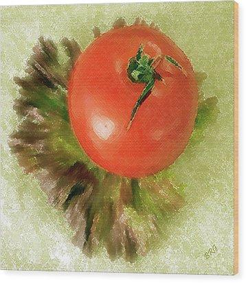 Tomato And Lettuce Wood Print by Ben and Raisa Gertsberg