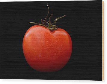 Tomato On Black Wood Print