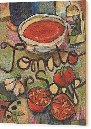 Tomato Soup Recipe Wood Print by Jen Norton