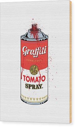 Tomato Spray Can Wood Print by Gary Grayson